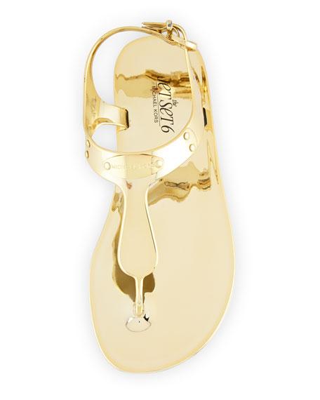 MK Plate Jelly Flat Sandal, Gold