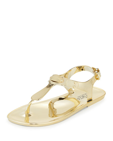 MICHAEL Michael Kors MK Plate Jelly Flat Sandal, Gold