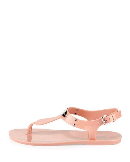 Logo-Plate Jelly Flat Thong Sandal, Pale Pink
