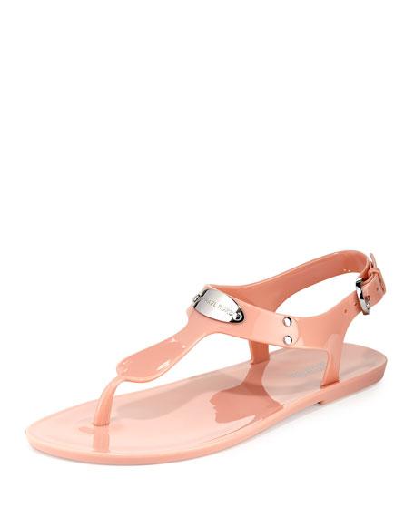 MICHAEL Michael Kors Logo-Plate Jelly Flat Thong Sandal, Pale Pink