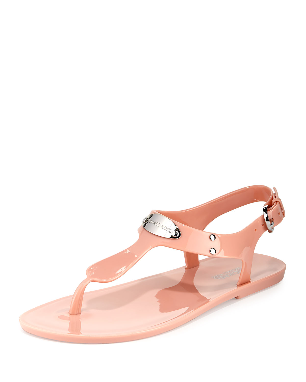 4c7d98c78e7 MICHAEL Michael Kors Logo-Plate Jelly Flat Thong Sandal