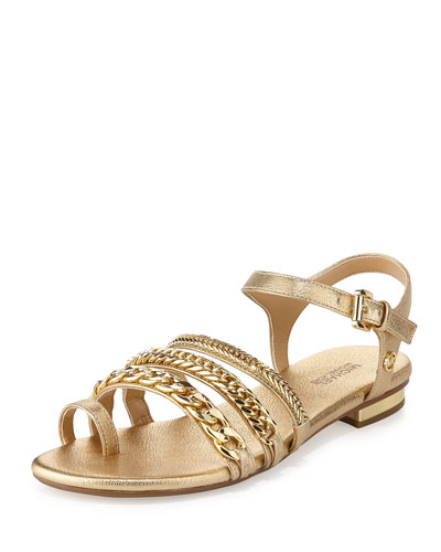 Jackie Chain-Link Flat Sandal, Pale Gold