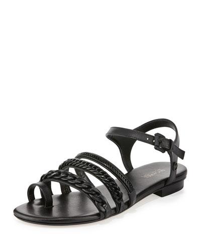 Jackie Chain-Link Flat Sandal, Black