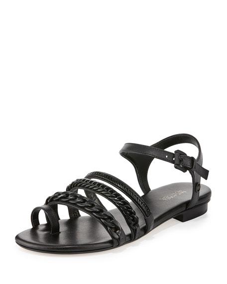 MICHAEL Michael Kors Jackie Chain-Link Flat Sandal, Black