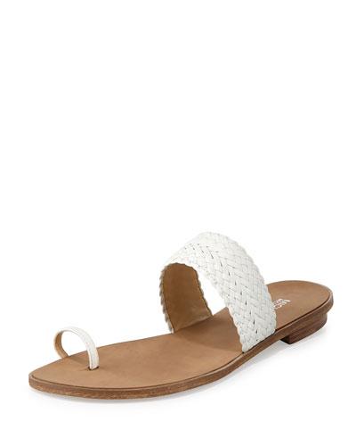 Daniella Braided Leather Flat Sandal, Optic White