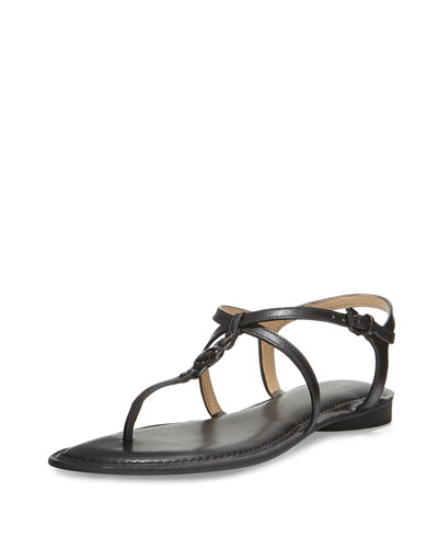 Bethany Leather T-Strap Sandal, Black
