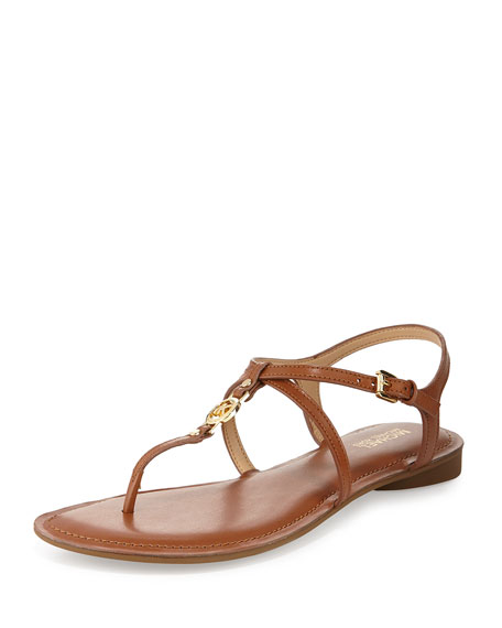 MICHAEL Michael Kors Bethany Leather Flat Thong Sandal, Luggage