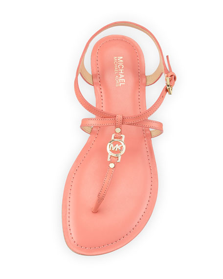 Bethany Leather Flat Thong Sandal, Pink Grapefruit