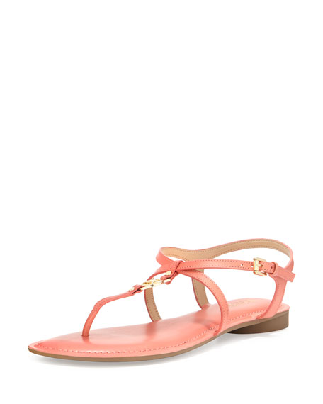 MICHAEL Michael Kors Bethany Leather Flat Thong Sandal,