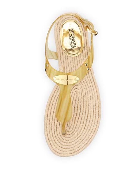 Hazel Flat Jelly Thong Sandal, Pale Horn