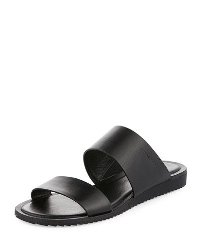 Millie Flat Leather Slide Sandal, Black