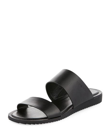 MICHAEL Michael Kors Millie Flat Leather Slide Sandal, Black