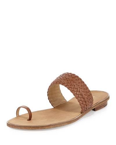 Daniella Braided Leather Flat Sandal, Luggage