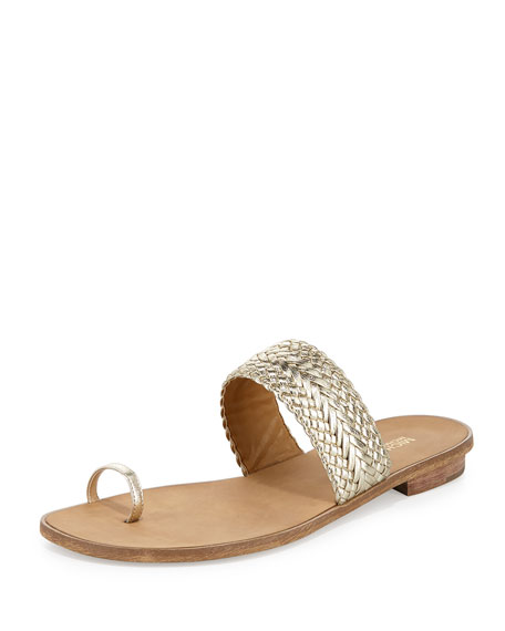 MICHAEL Michael Kors Daniella Braided Leather Flat Sandal, Light Gold