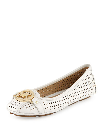 Fulton Laser-Cut Leather Moccasin, Optic White
