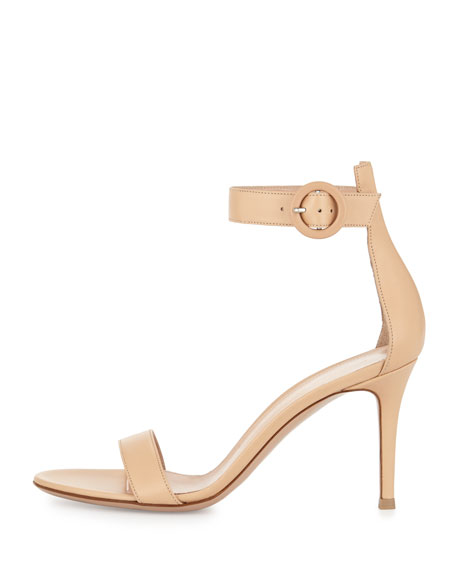 Portofino Leather Ankle-Strap 85mm Sandal, Nude