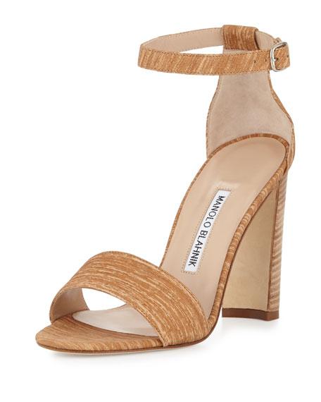 Manolo Blahnik Lauratopri Ankle-Wrap 105mm Sandal, Beige