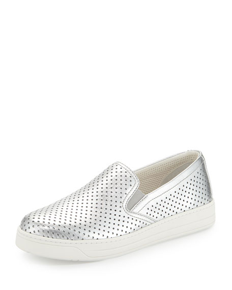 Perforated Metallic Slip-On Sneaker, Silver (Argento)