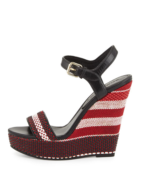 Kavanagh Woven Wedge Sandal, Black/Red