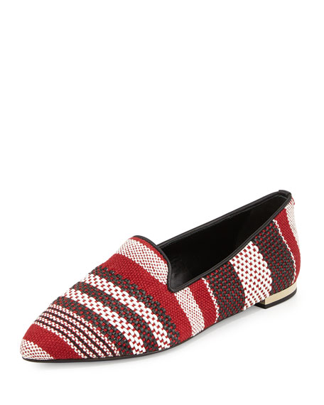 Burberry Graydonson Striped Woven Flat, Parade Red