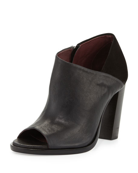 Rag & Bone Mabel Leather/Suede Peep-Toe Bootie, Black