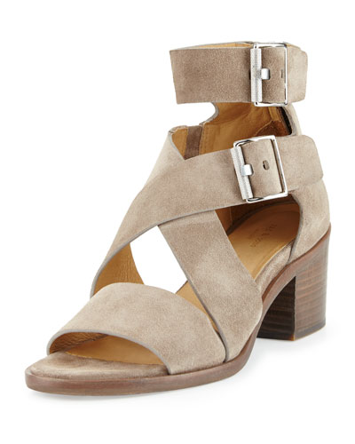 Madrid City Suede Crisscross Sandal, Warm Gray