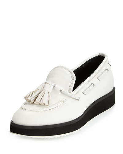 McKenzie Tassel Leather Loafer, White