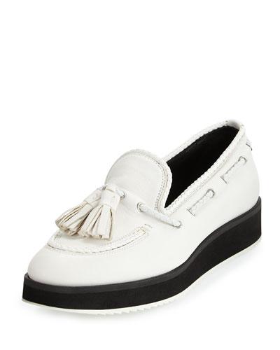 McKenzie Tassel Leather Loafer, White