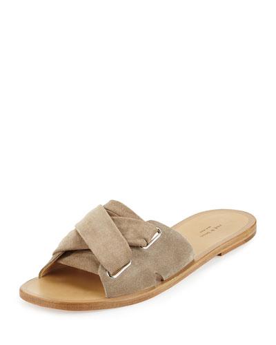 Nora Suede Corset Sandal, Warm Gray