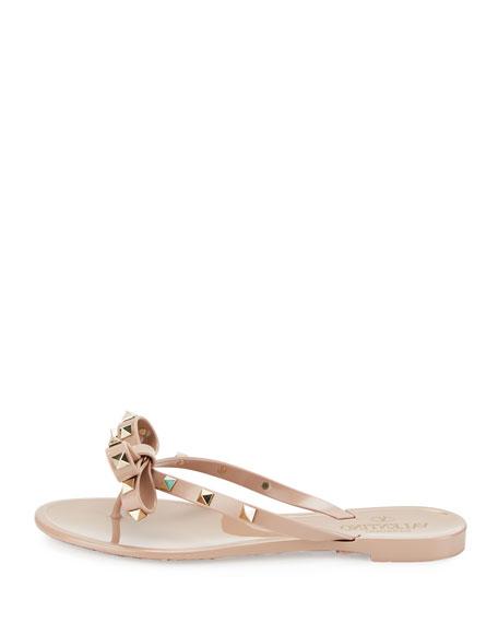 Rockstud PVC Flat Thong Sandal, Poudre