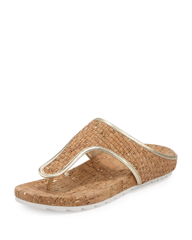 a5bf6846397 Donald J Pliner Merie Woven Cork Flat Thong Sandals