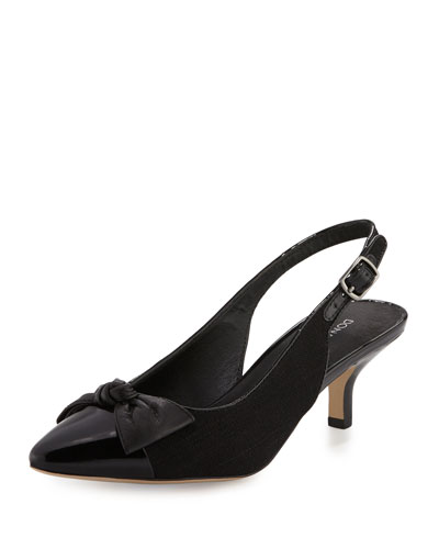 Gaga Cap-Toe Bow Slingback Pump, Black