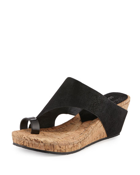 Donald J Pliner Gille Asymmetric Wedge Slide Sandal, Black