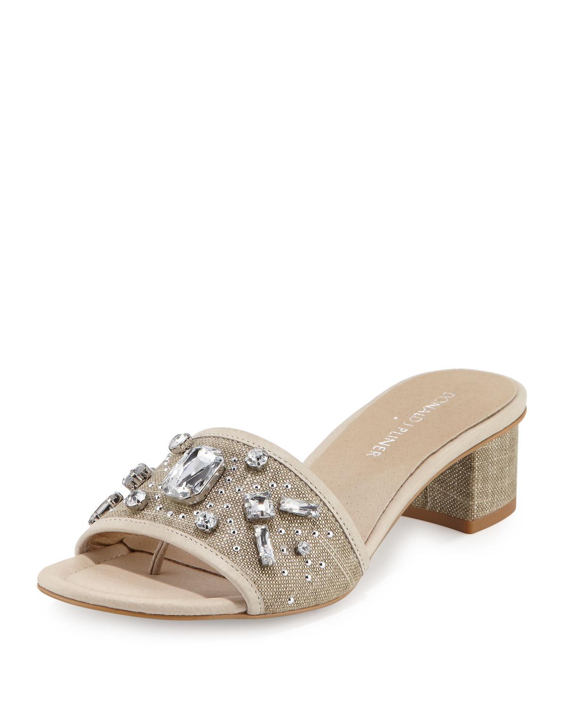 29bb8f26f548 Donald J Pliner Maxx Jeweled Low-Heel Slide Sandals