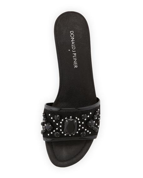 Maxx Jeweled Low-Heel Slide Sandal, Black