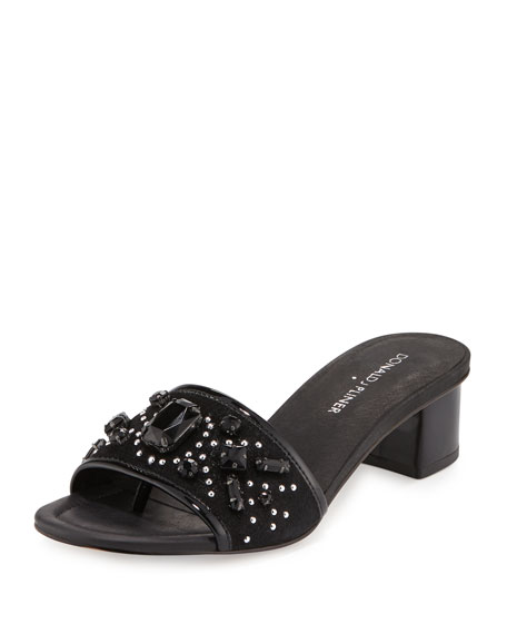 Donald J PlinerMaxx Jeweled Low-Heel Slide Sandal, Black