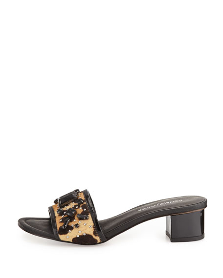 Maxx Jeweled Low-Heel Slide Sandal, Black/Natural