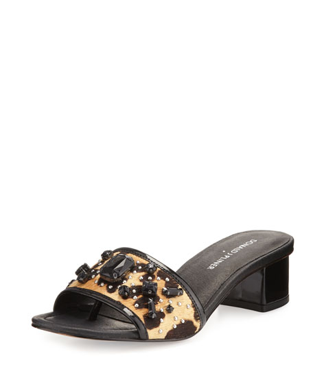 Donald J Pliner Maxx Jeweled Low-Heel Slide Sandal,