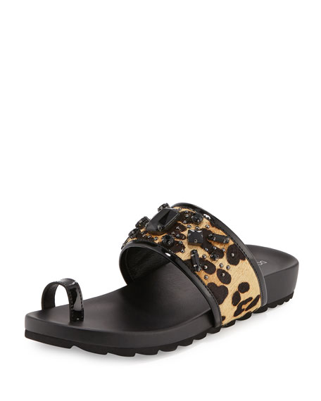 Donald J Pliner Tulia Jeweled Calf-Hair Slide Sandal,
