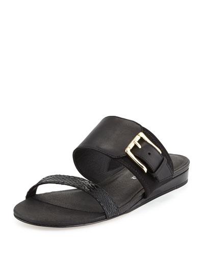 Bien Double-Strap Buckle Slide Sandal, Black