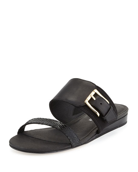 Donald J PlinerBien Double-Strap Buckle Slide Sandal, Black