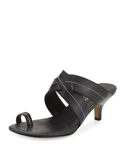 Reio Leather Crisscross Slide Sandal, Black