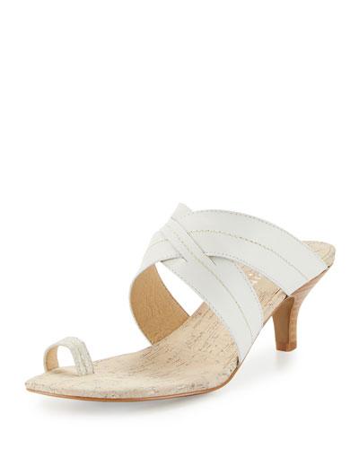 Reio Leather Crisscross Slide Sandal, White