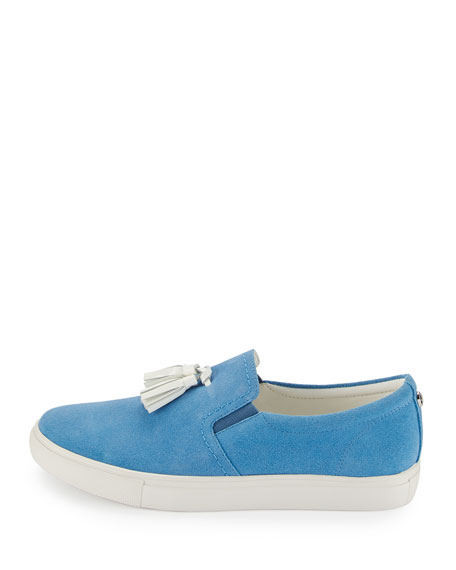 Sonora Suede Tassel Sneaker, Light Denim