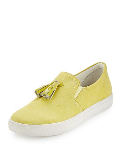 Sonora Suede Tassel Sneaker, Lemon