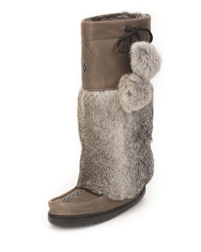 Rabbit-Fur Tall Grain Mukluk Boot, Stone