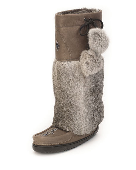 MUKLUKS Rabbit-Fur Tall Grain Mukluk Boot, Stone