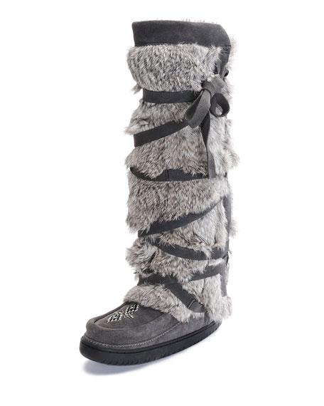 Rabbit-Fur Tall Wrap Mukluk Boot, Gray