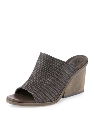 Anemet Embossed Leather Mule Sandal, Black