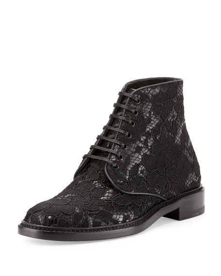 Saint Laurent Floral-Lace Lace-Up Boot, Black